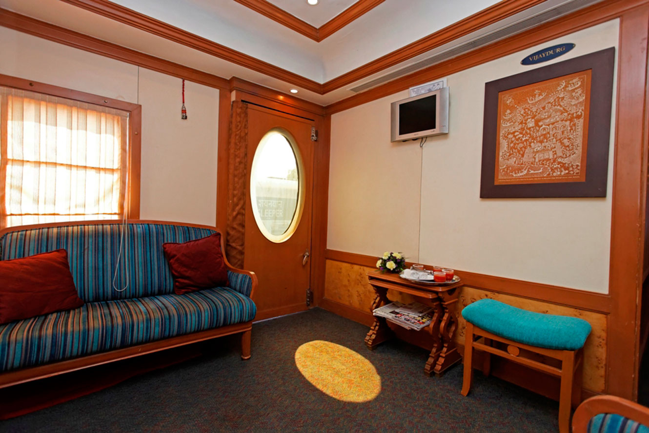 Separate seating area of the Presidential Suite, the Deccan Odyssey
