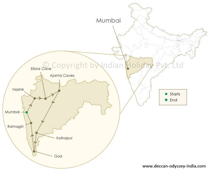 Route Map of the Deccan Odyssey train Tour